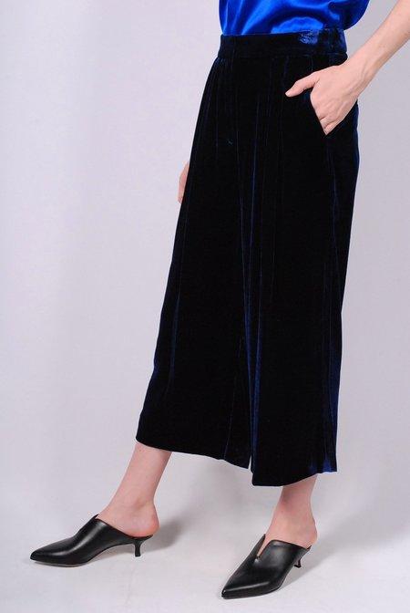 Tibi Silk Velvet Stella Wide Leg Culotte - Navy