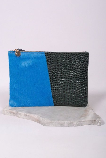 Clare V. Half & Half Clutch - Half Blue/ Croc