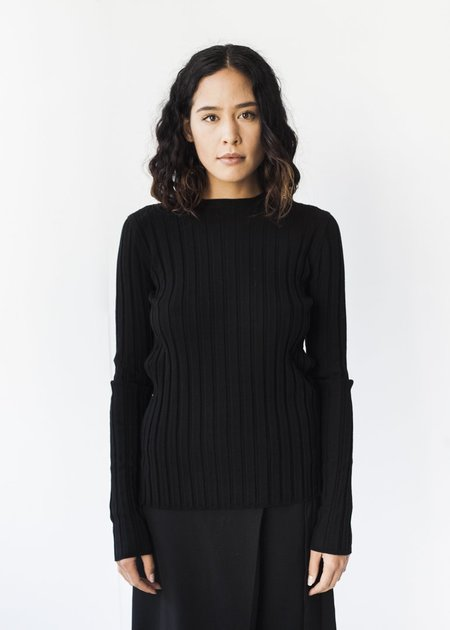 Achro Long Sleeve Ribbed Pullover in Black