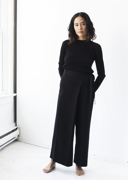 Achro Wrap Front Cropped Wide-Leg Pants in Black