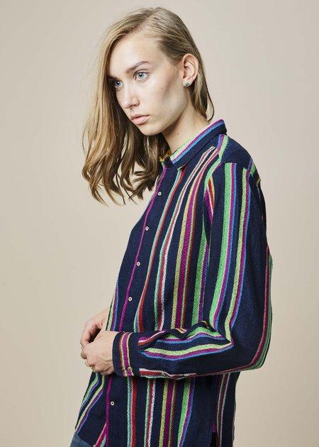 Pero Neon Stripe Button-Up Shirt