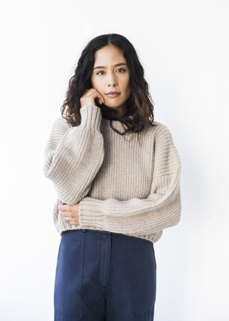First Rite Crew Crop Sweater in Oatmeal