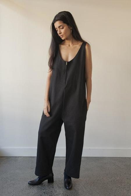 Sunja Link Cotton Canvas Overalls - Black
