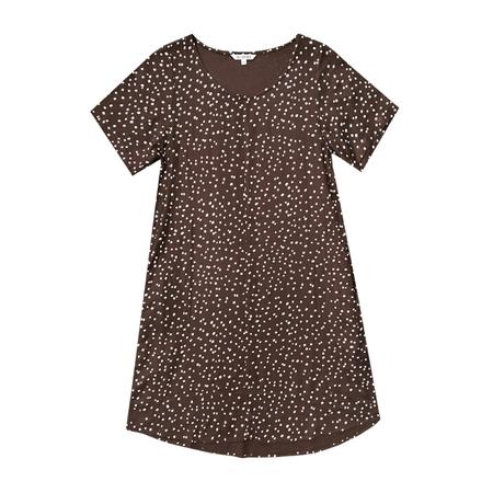 Ali Golden Woven T-shirt Dress - Brown Dot