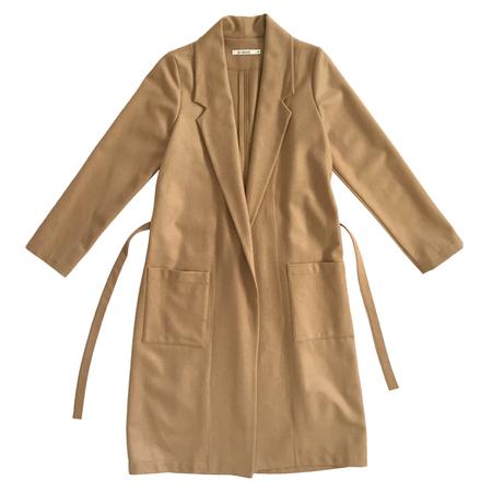 Ali Golden Wool Notch Coat with Belt