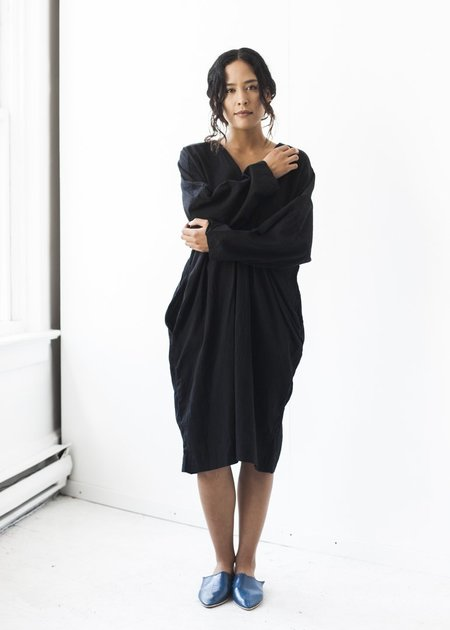 Uzi NYC Long Sleeve V-Dress in Black