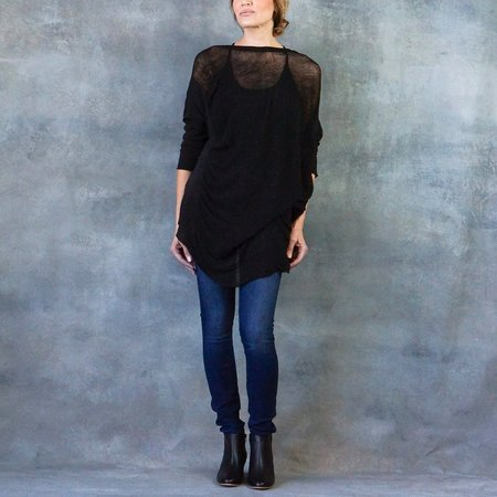 Raquel Allegra Boatneck Cocoon Top with Wide Shred