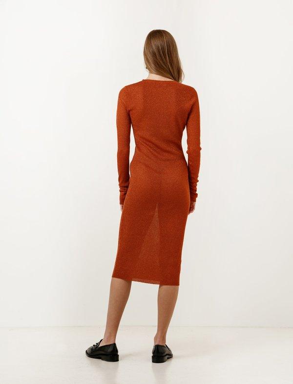 Organic by John Patrick Metallic Ribbed Dress - Copper