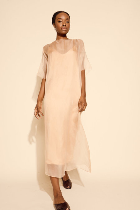 Kamperett Air Silk Organza Sheath Dress in Blush