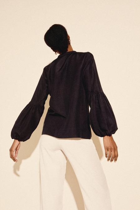 Kamperett Ferou Silk Linen Top in Black
