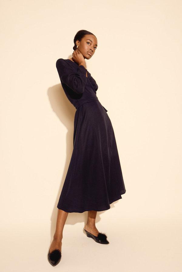 Kamperett Ellie Midi Wrap Dress in Midnight Navy