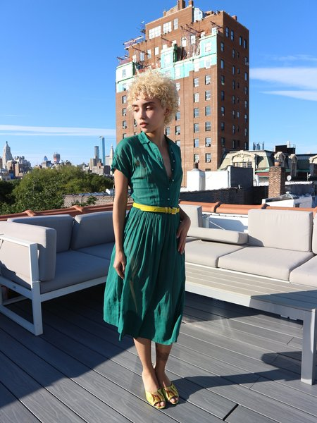 HOH Curate Vintage 1950's Emerald Green Sheer Dress