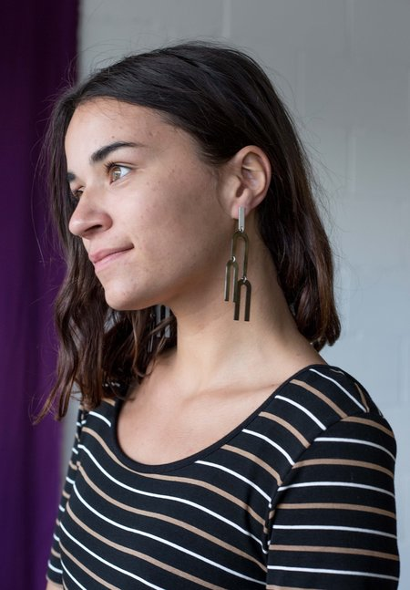 Natalie Joy Curved Black Line Earrings