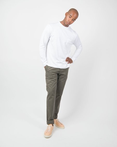 Sunspel 60s Long Sleeve Crew Neck with Pocket - White