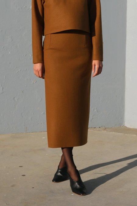 Waltz Wool Jersey Straight Skirt in Camel
