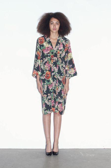 Strathcona Black Floral Silk Kimono Robe