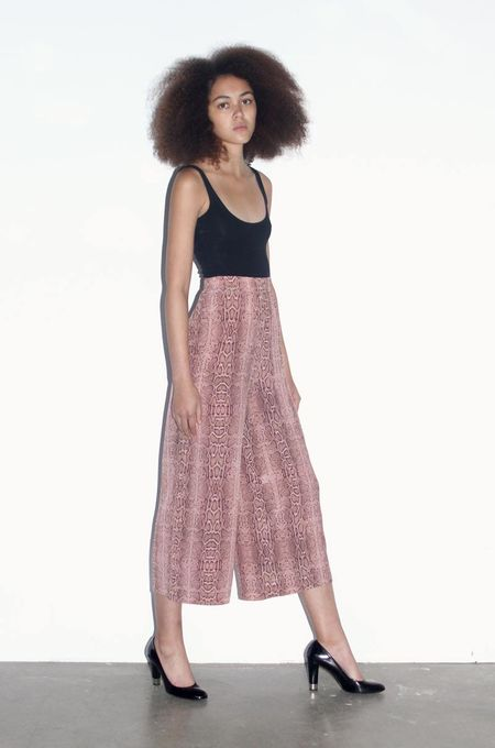 Strathcona Pink Snake Skin Silk Culotte