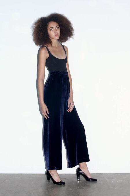 Strathcona Silk Velvet Culotte Pant in Dark Blue