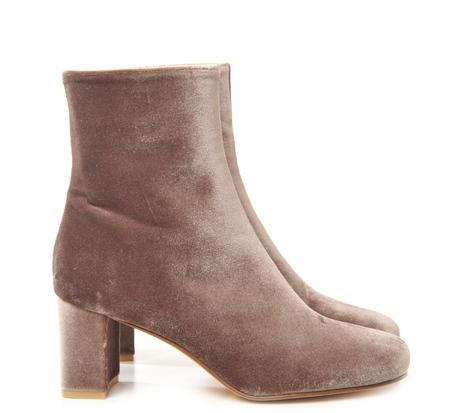 Brown Velvet Agnes Split Toe Boot by Maryam Nassir Zadeh