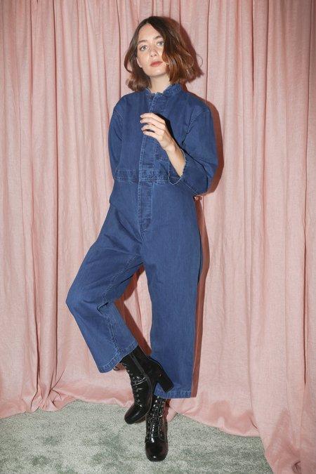Caron Callahan Fincher Jumpsuit in Indigo Herringbone