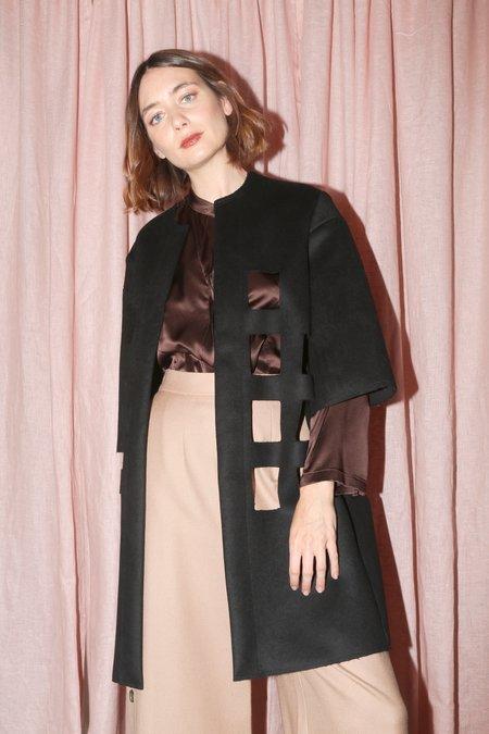 Nancy Stella Soto Bonded Wool Cut Out Coat in Black