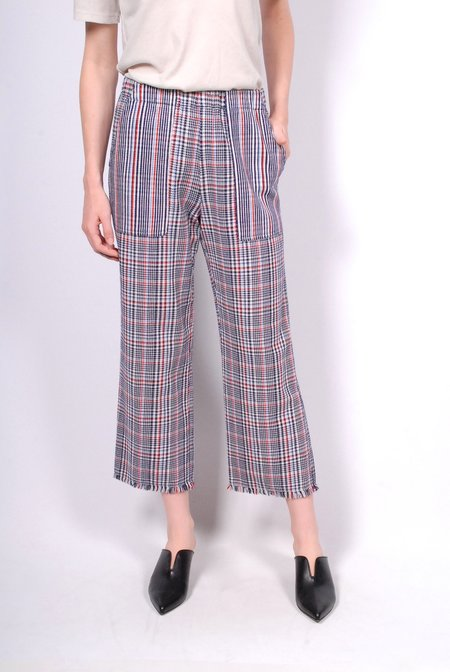 Raquel Allegra Double Face English Plaid Cropped Pant - Ivory/Navy