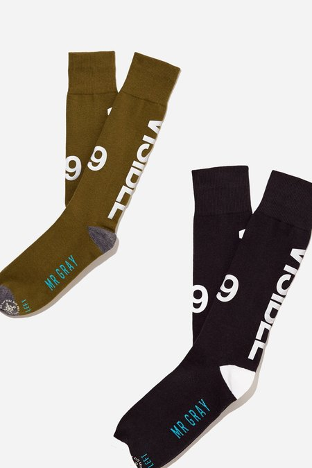 Mr. Gray 3M Reflective Ink Printing Sock - Olive and Black
