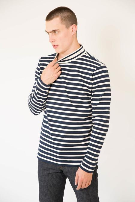 YMC Breton Stripe Jersey Chino Turtle Neck