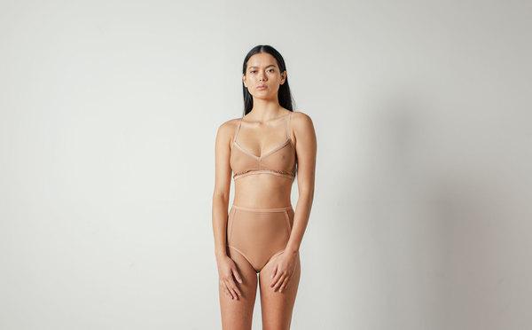 Land of Women Mesh Highwaisted Brief in Warm Nude