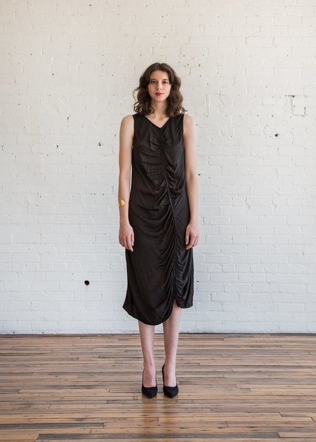 Raquel Allegra Gathered Midi Dress - Black