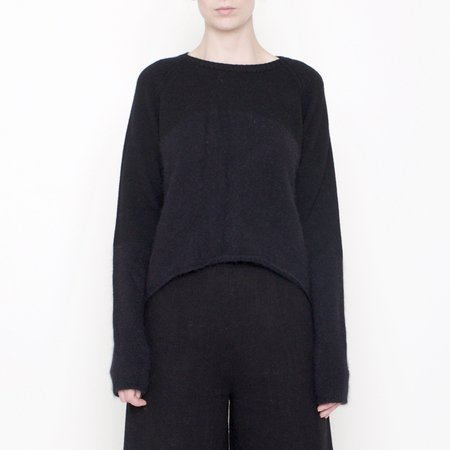 7115 by Szeki Angora Blocked Cropped Sweater - Black FW17