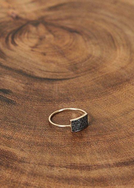 Ginette NY Mini Black Diamond Rectangle Ring