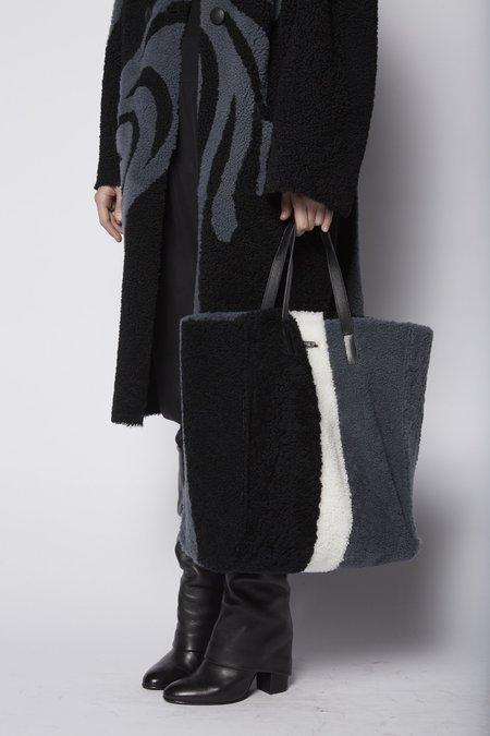 Anne Vest Tricolor Shearling Bag