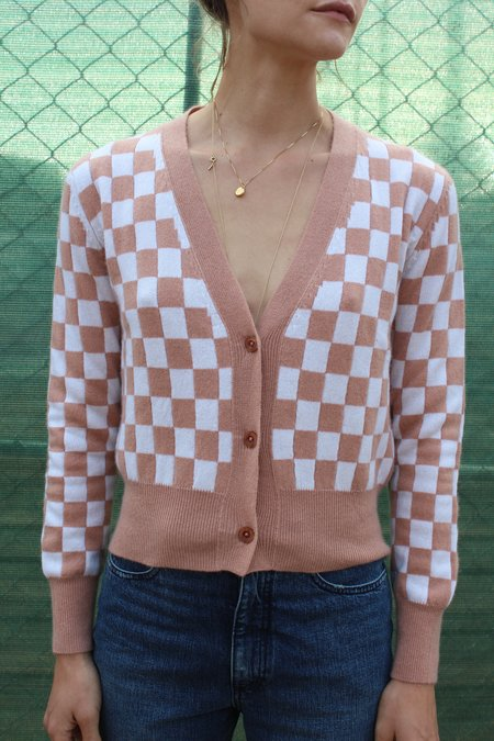Beklina Cashmere Cardigan - Checkerboard Cocoa/Ivory
