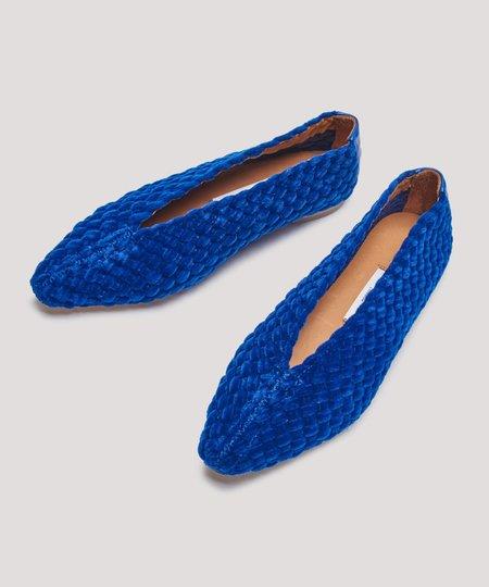 Miista Blue Velvet Leah Flat