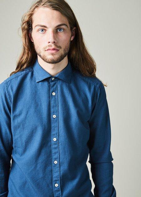 Tintoria Mattei 954 Slim Fit Wool Blend Shirt - Blue