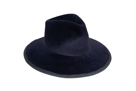 Clyde Wide Brim Pinch Hat in Midnight with Grey Trim
