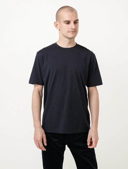 Niuhans Cotton Cashmere Soft Brushed Tee - Navy