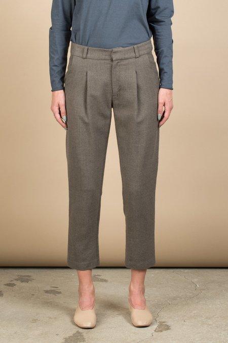 Evam Eva Wool Tuck Pants In Brown