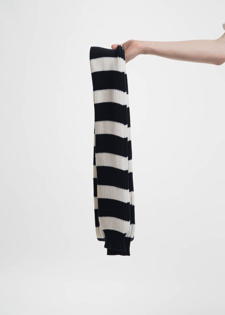 Sunnei Navy and White Striped Scarf