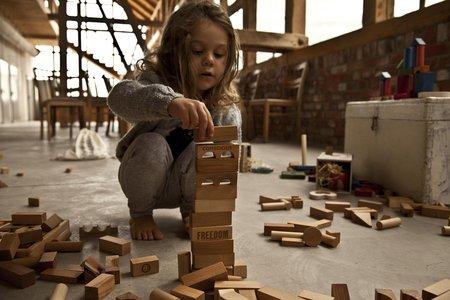 Kids Wooden Story Natural Blocks XL, 63 Pieces