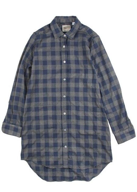 Naked And Famous LONG SHIRT HERRINGBONE CHECK