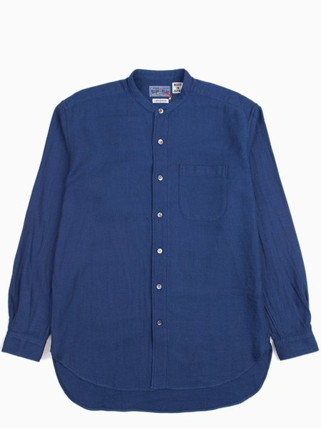 Blue Blue Japan Wavy Cotton Dobby Band Collar LS Shirt - Indigo