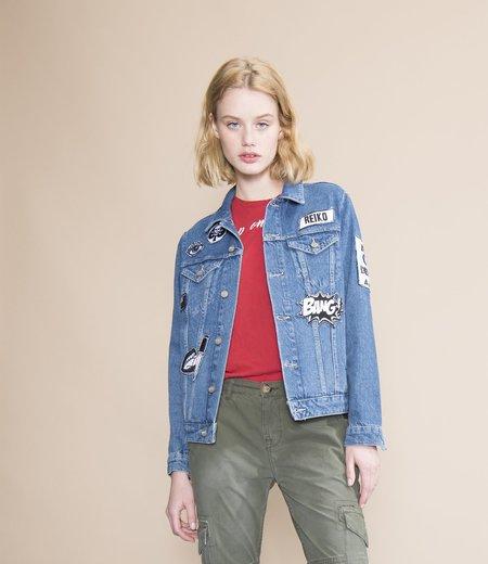 Reiko Vahia Medium Wash Denim Jacket with Patches