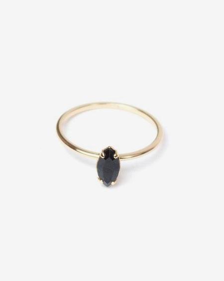 Bing Bang NYC Tiny Marquis Ring - Jet Swarovski