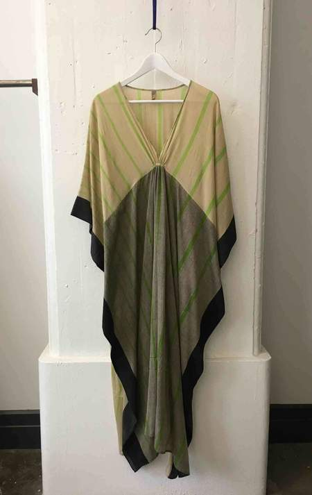 Two Neutral Tan Caftan with Stripes