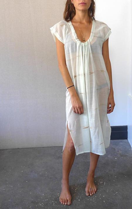 Two Seafoam and White Woven Drawstring Dress