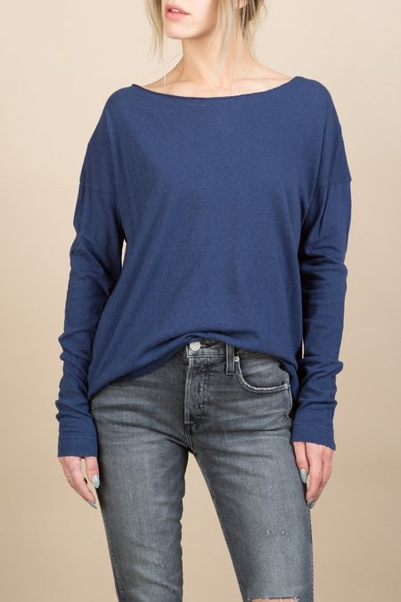 VRoom Cashmere Soft Jersey L/S Drop Shoulder Crew In Navy
