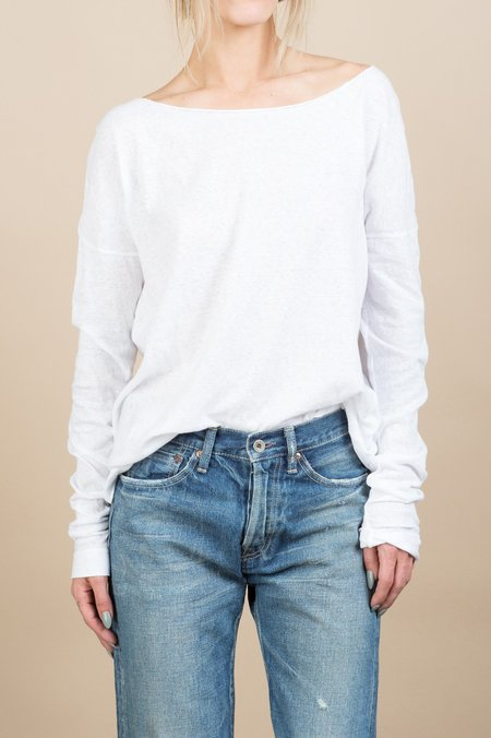 VRoom Cashmere Soft Jersey L/S Drop Shoulder Crew In White