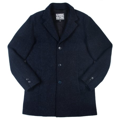 August Fifteenth Topper Coat - Navy Herringbone Harris Tweed